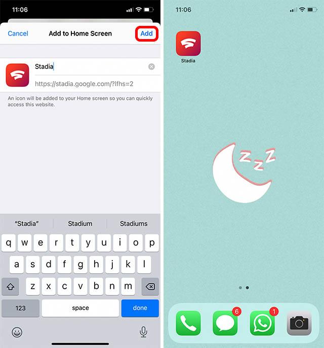 Stadien auf dem Startbildschirm im iPhone
