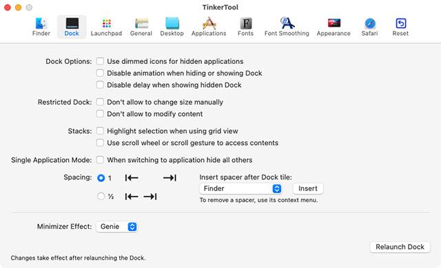tinkertool hidden dock settings