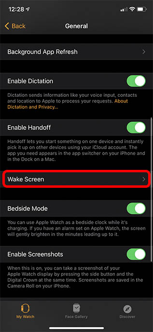 wake screen settings