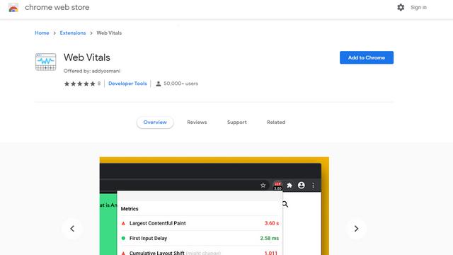 extensión de Chrome web vitals
