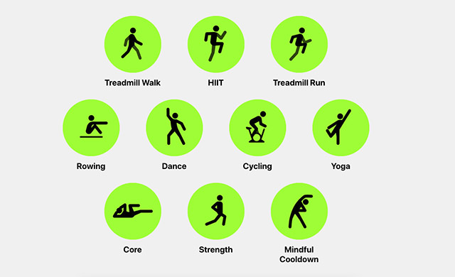 workout types in apple fitness plus