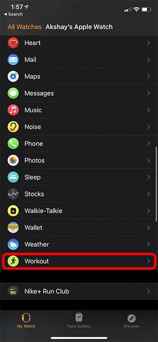 workout settings watch app