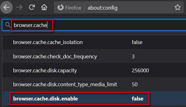 Firefox about:config settings