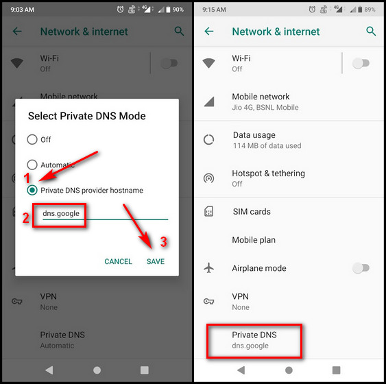Change DNS on Android 9 Pie and Newer