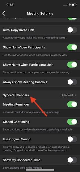 Choose Synced Calendars