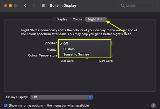 Customize Night Shift On mac
