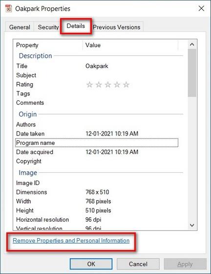 Delete Image Metadata in Windows 10