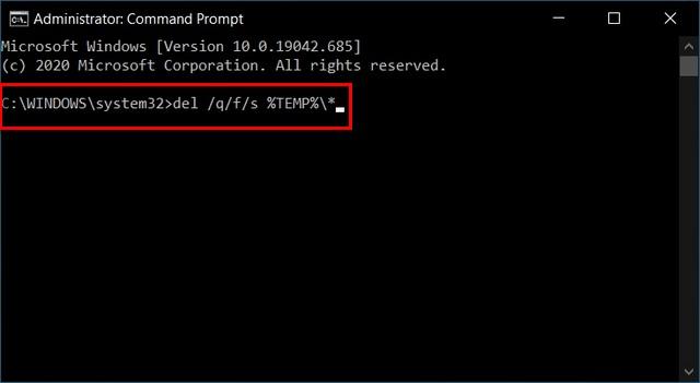 Удалить временные файлы из командной строки