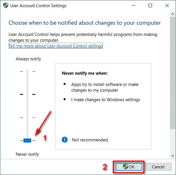 Disable User Account Control in Windows 10