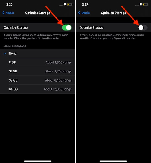 Disable optimize storage on iPhone and iPad