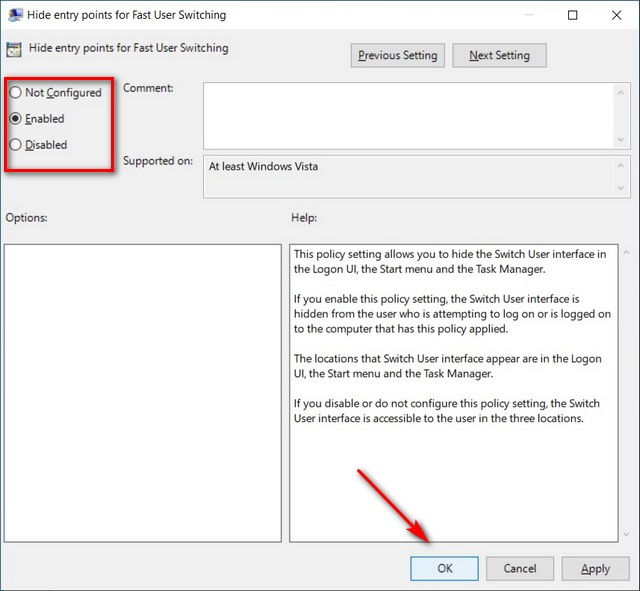 Enable or Disable Fast User Switching to change user accounts in Window 10