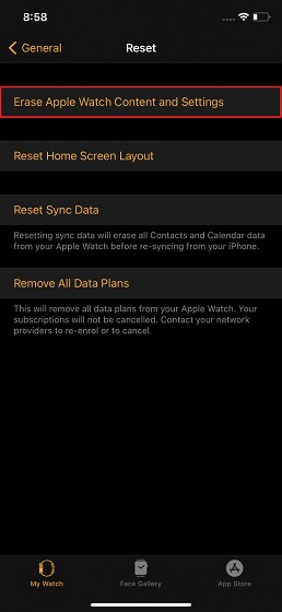 Erase Apple Watch content and data