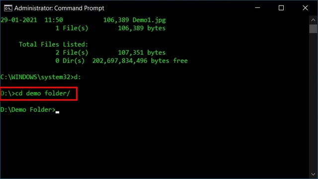 acees folder in command prompt