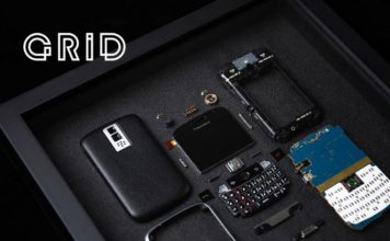 Grid frames disassembled smartphones
