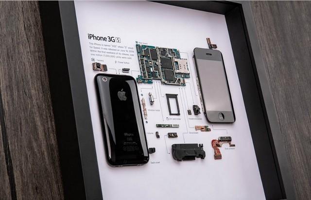 Grid frames disassembled smartphones