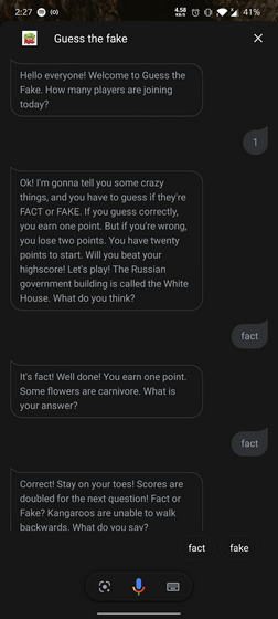 Guess the Fake Google Assistant Game