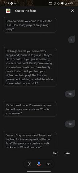 Угадай фальшивую игру с Google Ассистентом
