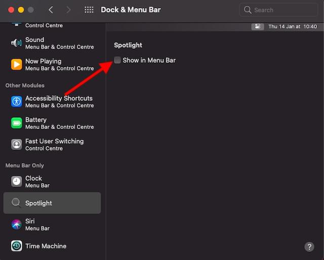 Hide spotlight on Mac