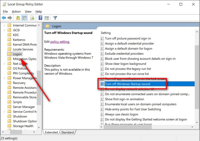 Group Policy Editor settings
