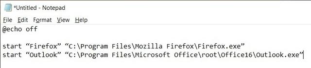 create batch file to run command