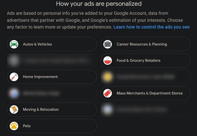 online advertisement categories
