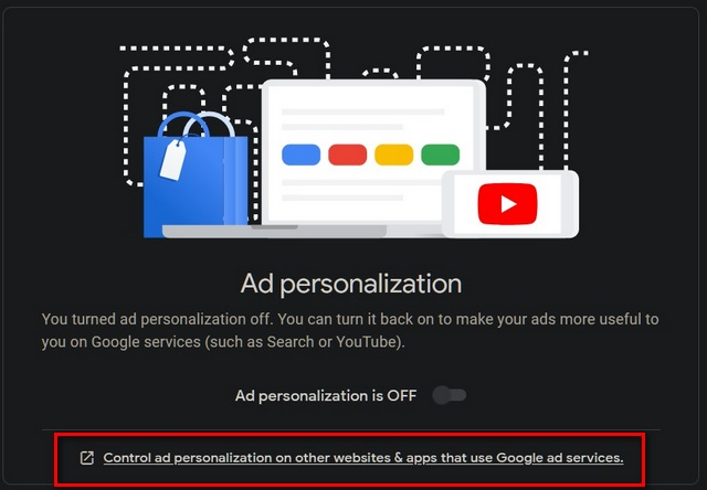 Control ad personalization on other websites