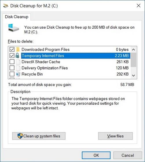 Удалить временные файлы в Windows 10