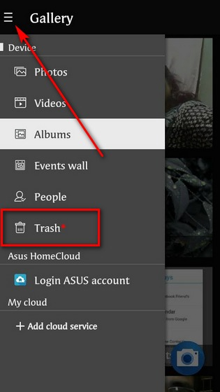 Trash folder in Gallery app