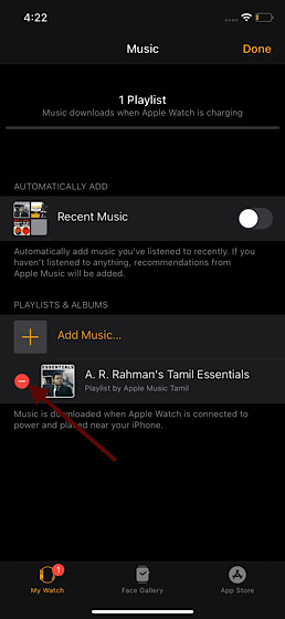 Remove Music from Apple Watch