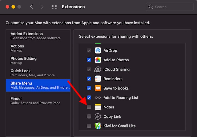 Remove sharing extension from the share menu