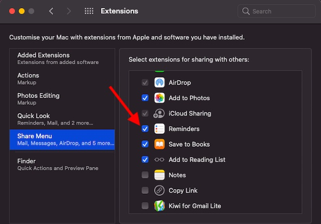 Select sharing extension on Mac