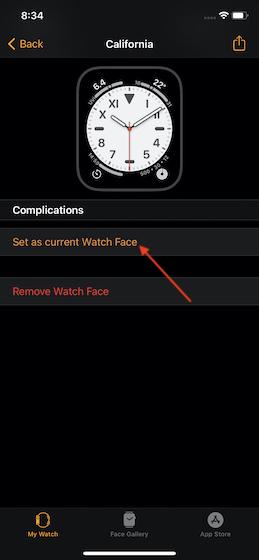 Установить как циферблат Apple Watch