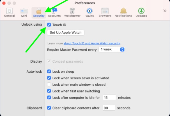 Set up Touch ID in 1Password for Mac
