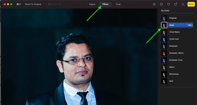 Используйте фильтры в приложении Фото для macOS