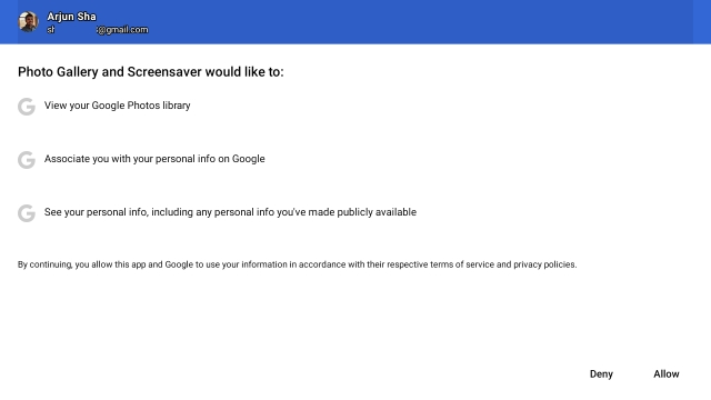 grant permission to access Google Photos