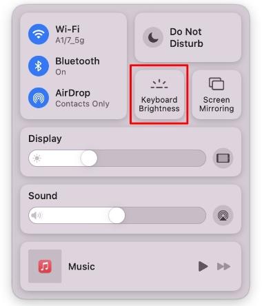 adjust keyboard brightness control center