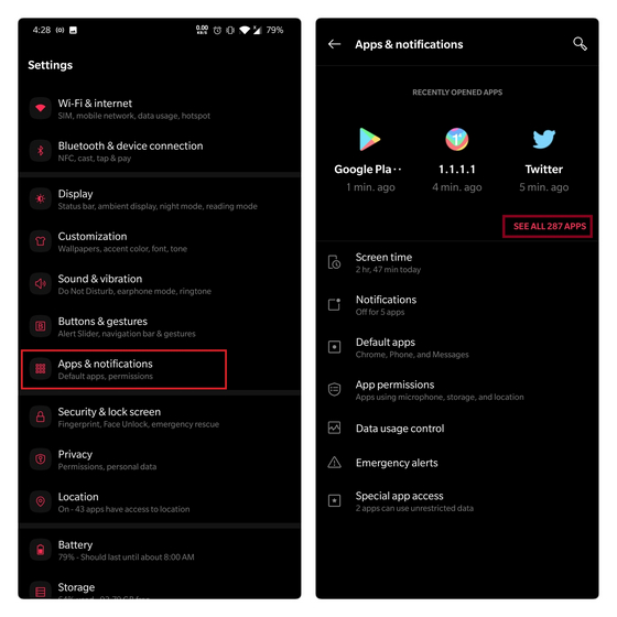 apps and notifications settings