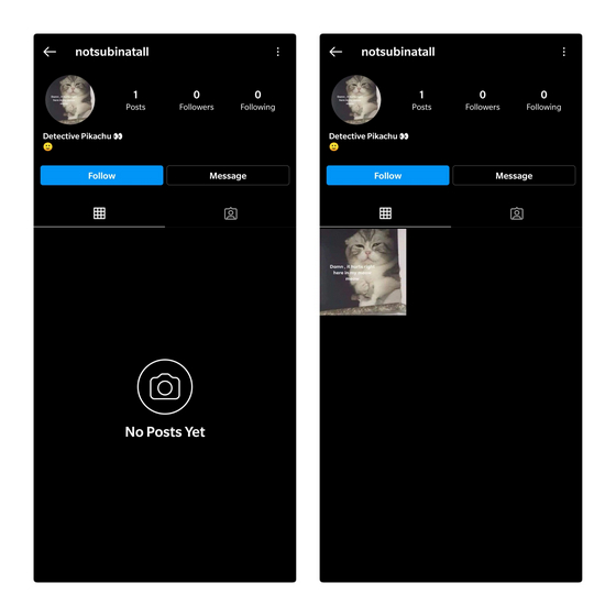 blocked insta account vs normal account