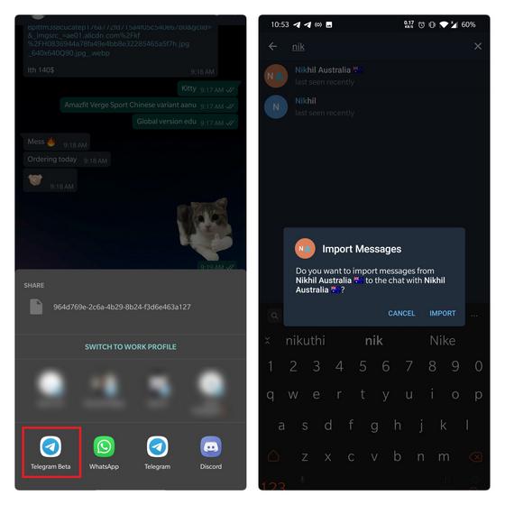 choose import recipient on Telegram