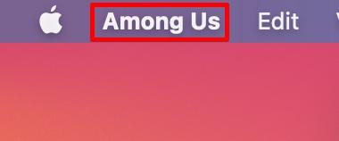 click app name in menu bar
