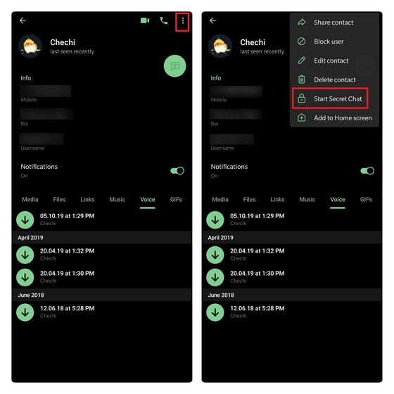 create secret chat telegram