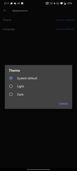 enable dark mode