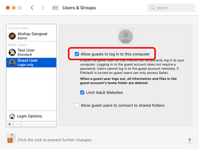 enable guest user mac