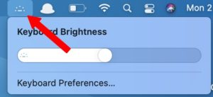 keyboard brightness toggle menu bar