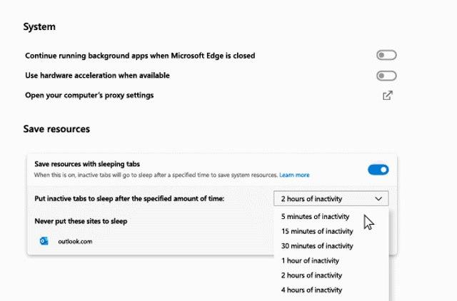 microsoft edge sleeping tabs feature