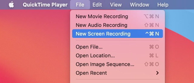 new screen recording with quicktime