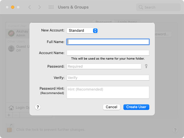 new user creation screen