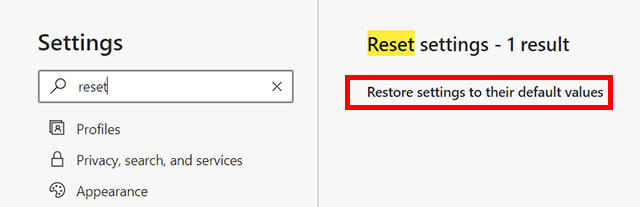 reset edge browser
