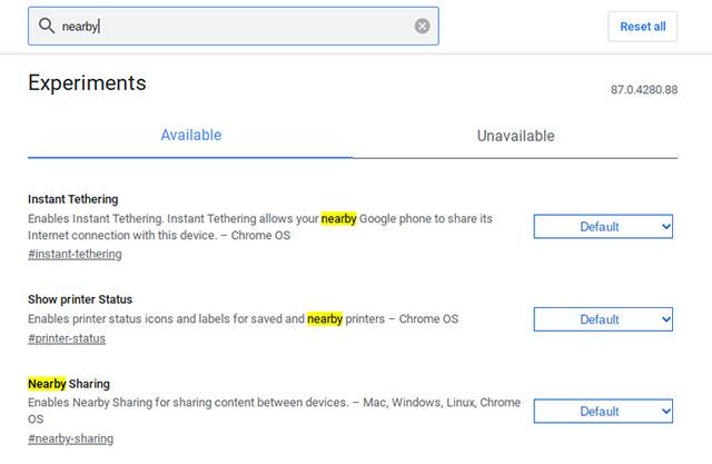 поиск поблизости поделиться в Chrome flags