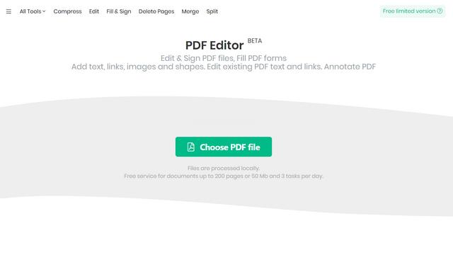 sejda pdf интерфейс рабочего стола